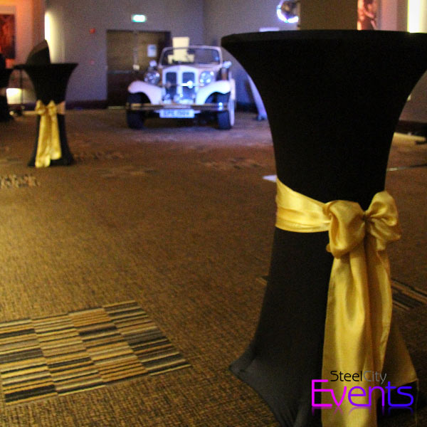 Black & Gold Covered Poseur Tables